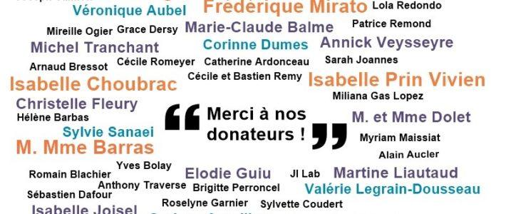 Merci à nos donateurs !